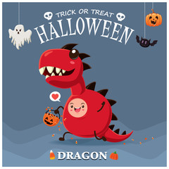Vintage Halloween poster design with vector monster dragon character.