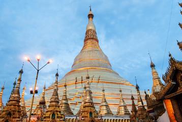 Yangon, Myanmar. Sep 9, 2017. Myanmer famous sacred place and tourist attraction landmark, Shwedagon Paya pagoda illuminated in the evening.