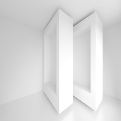 Futuristic Interior Background. White Abstract Living Room Concept. Minimalistic Graphic Design