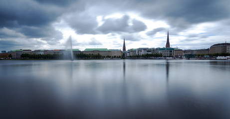 Foto op Plexiglas Panoramafoto s Hamburg, Binnenalster