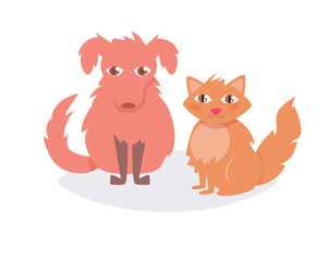 Cat and dog. Vector. Cartoon.