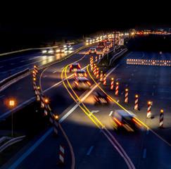 Keuken foto achterwand Nacht snelweg a construction site on a highway at night