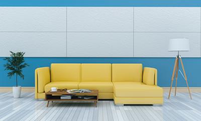 3D rendering of interior modern living room includes sofa, floor lamp