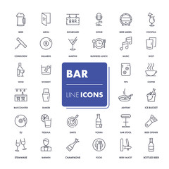 Line icons set. Bar