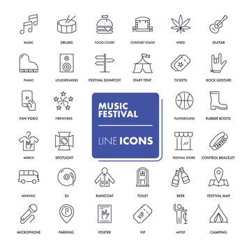 Line icons set. Music festival