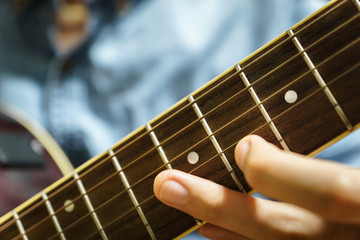 acoustic guitar close-up playing for jazz rock music