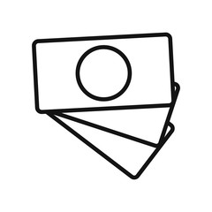 Vector illustration of a flat icon in the form of paper money, picture for an application, website, business presentation, infographics on a white background