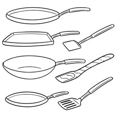 vector set of pan and flipper