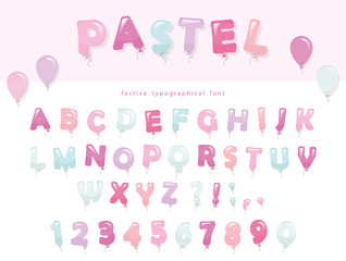 Balloon font design in pastel colors. Cute ABC letters and numbers. For birthday, baby shower celebration.