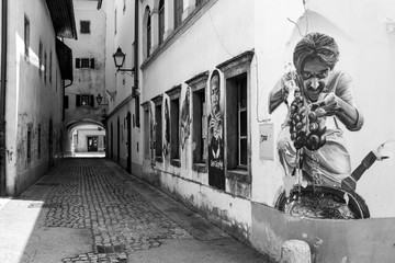 Kranj old city european side alley street art graffiti black and white passage old building architect
