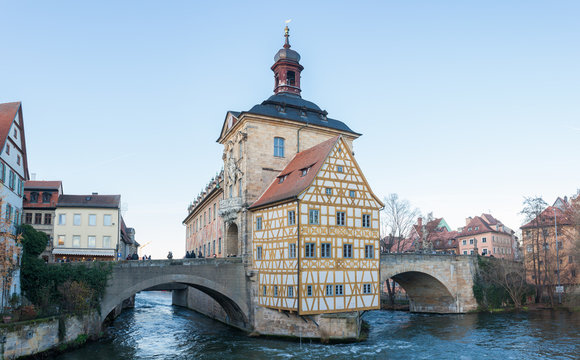 Panoramic view of the historic town hall of Bamberg on the bridge over the river