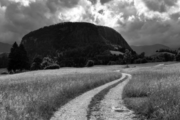 Black and white photo of the grass field and curving car road going in the direction of mountains under the cloudy sky Europe EU Slovenia