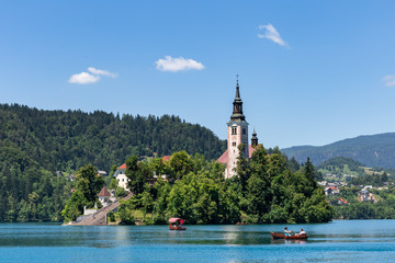Pilgrimage Church of the Assumption of Maria on the island in the Bled lake Slovenia