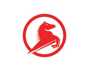 Red Horse Fast  Logo Design Template