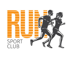 Run Sport Club. Running Man and Woman Logotypes.