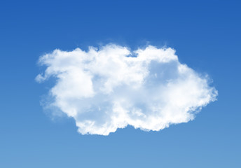 Single cloud isolated over black background