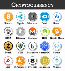 Set of cryptocurrency icon . Vector