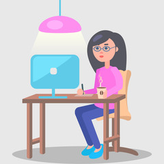 Woman Works in Office at Computer Illustration