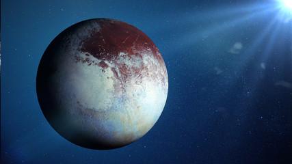 dwarf planet Pluto lit by the Sun