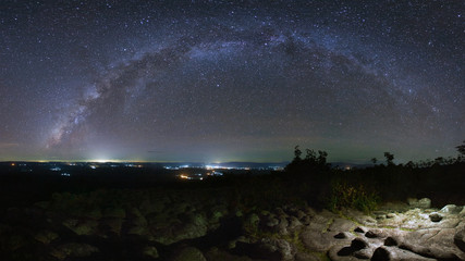 Panorama Milky way galaxy with knob stone ground is name Lan Hin Pum viewpoint at Phu Hin Rong Kla National Park in Phitsanulok, Thailand