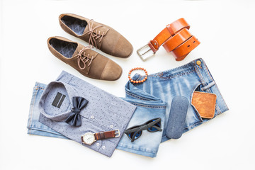 Fashion and beauty concept, Men's casual clothes outfits and accessories on white background Wall mural