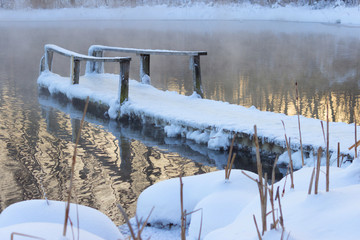 frozen wooden bridge