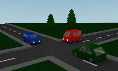 Kreuzung mit farbigen Autos