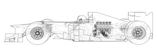 Stores à enrouleur F1 Racing car. Wire-frame. EPS10 format. Vector rendering of 3d