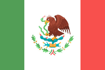 Mexican flag with eagle. Symbol of Mexico.