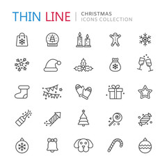 Collection of christmas thin line icons