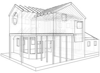 House drawing in vector. The contours of the house. Vector created of 3d.