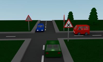 Kreuzung mit Straßenschildern und Autos