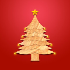 Christmas tree made from wood with decorations and Golden star, Red background. Christmas season with art style illustration