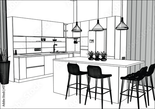 Quot 3d Vector Sketch Modern Kitchen Design In Home Interior