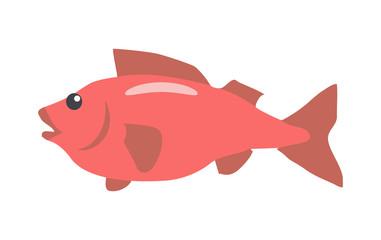 Red Fish Cartoon Flat Vector Illustration
