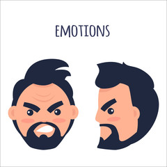 Emotions. Angry Man Face Isolated Illustration