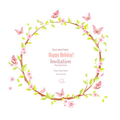 cute floral wreath with blooming sakura for your design