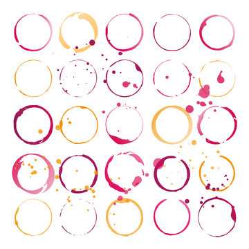 Set of wine stains and splatters. Vector illustration.