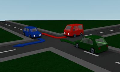 Straßen mit grün, rot und blauem Auto