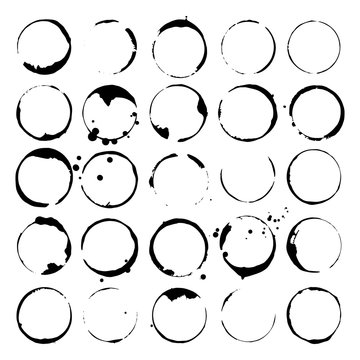 Set of wine or coffee stains. Spots and splatters. Black silhouettes. Vector illustration.