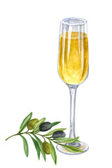 A glass of white wine with a branch of olives