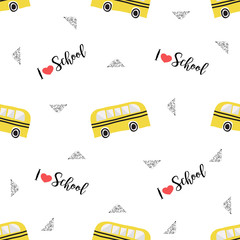 seamless hand drawn school bus with heart and geometric silver glitter pattern on white background