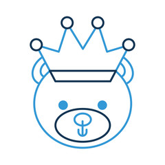 cute bear with crown teddy face toy gift vector illustration