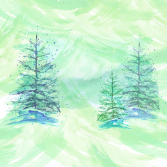 Watercolor background, light green with the image of firs, pines, snow. Christmas card, card with a vintage pattern.
