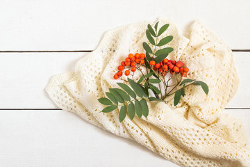 Branch of ripe rowan and white knitted scarf