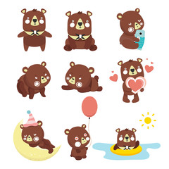 Set of illustrations with bears. Different poses.