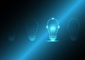 technology future human head light bulb