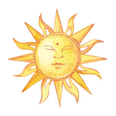 Yellow shiny sun watercolor illustration on white background.