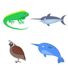 Set of Four Wild Animal for Children Flat Design