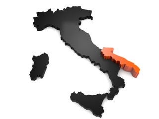 Map Of Italy Abruzzo Region.Italy 3d Black And Orange Map With Abruzzo Region Highlighted 3d